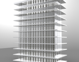 10 Story high rise glass building architecture and 3D 1