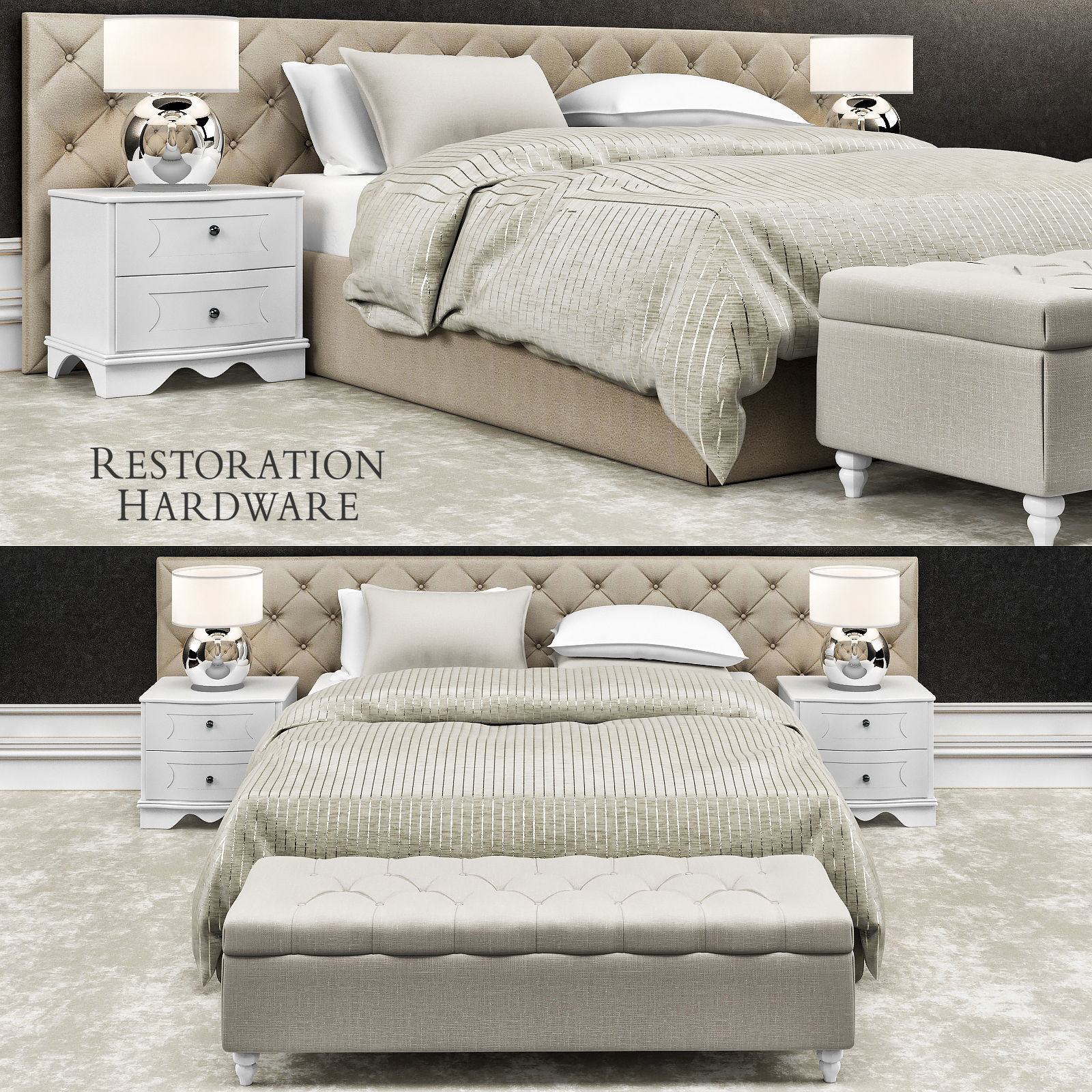 Restoration hardware bedroom - Restoration Hardware Bedroom Furniture 3d Model Max Obj Mtl 1
