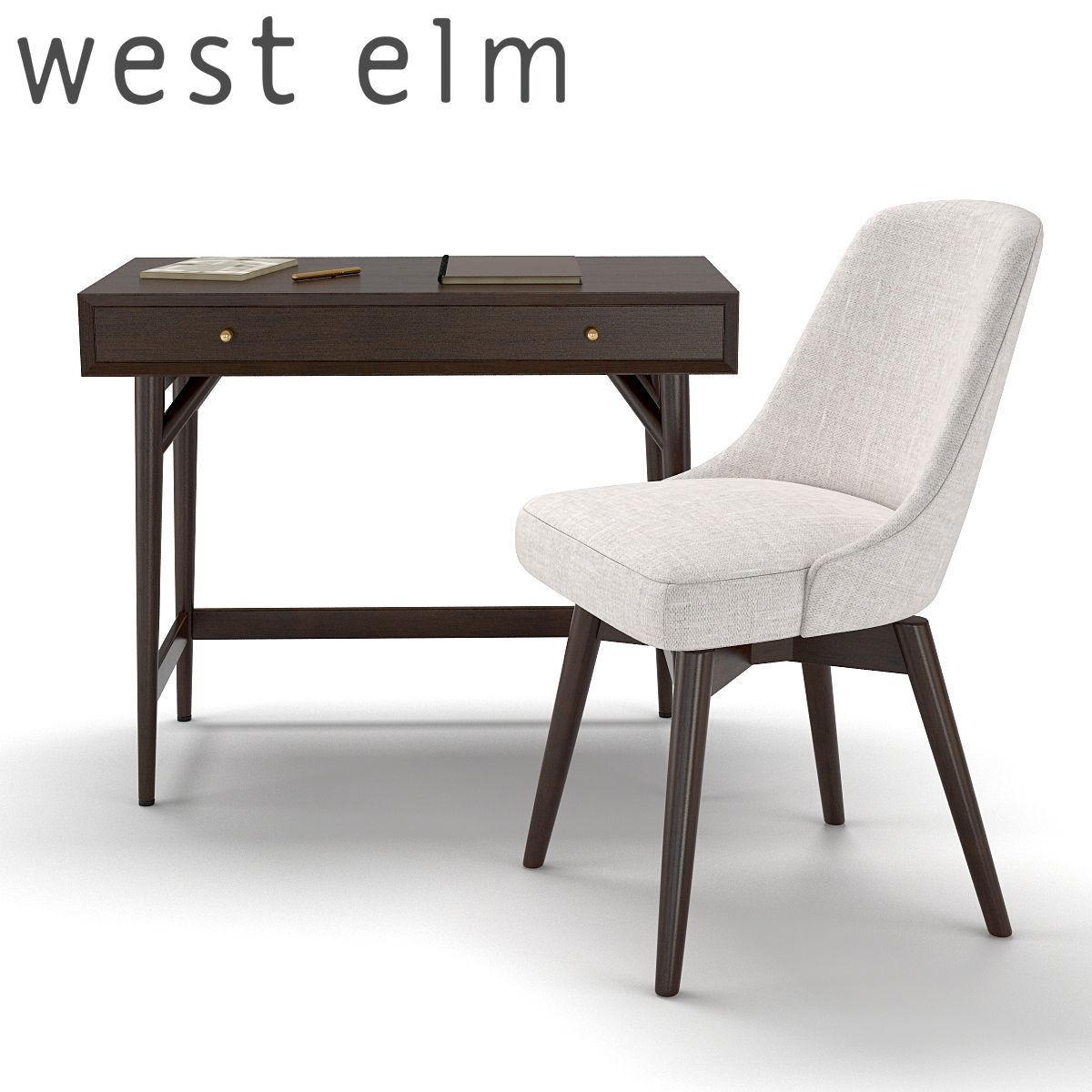 west elm office. West Elm Mid-century Mini Desk - Dark Mineral And Swivel Office 3d Model Max