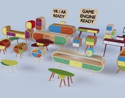 70s style furniture collection 3D asset