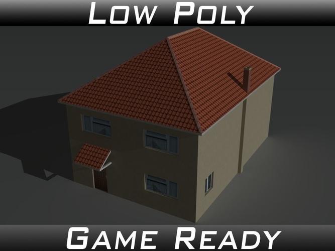 house 12 3d model low-poly obj 3ds fbx mtl 1