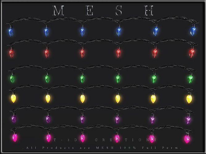 ... christmas lights - 6 colors bulbs 3d model obj mtl dae 2 ... - 3D Model VR / AR Ready Christmas Lights - 6 Colors Bulbs
