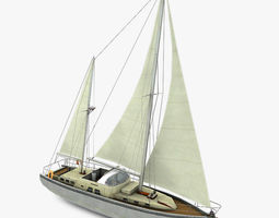 3D asset VR / AR ready Sailboat