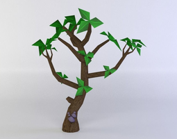 low-poly green tree 3d asset