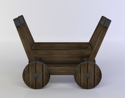 small carriage low-poly 3d model