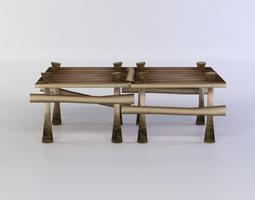 3d asset wooden square platform low-poly