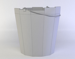 white bucket 3d asset low-poly