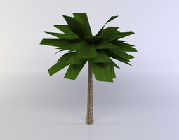 3d asset game-ready green palm tree