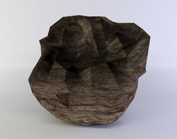 3d model low-poly large round rock