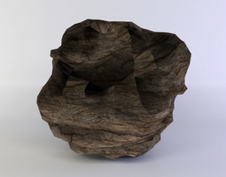 large round rock low-poly 3d model
