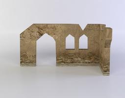 low-poly building ruins 3d model