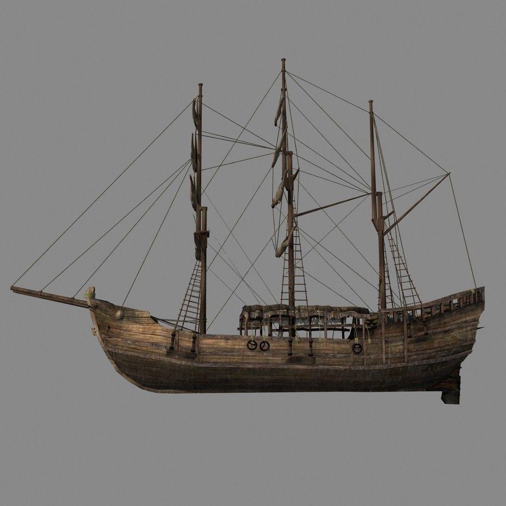 Chinese Old Ship 01 3D Model MAX OBJ FBX