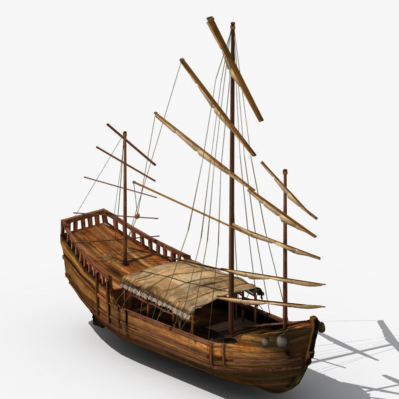 Chinese Old Ship 02 3D Model MAX OBJ FBX