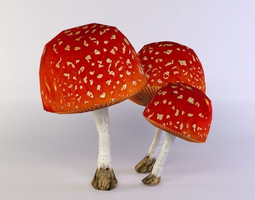 3d asset game-ready red mushrooms