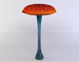 3d asset red mushroom low-poly