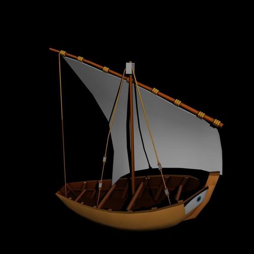 water boat 3d model low-poly obj mtl fbx ma mb stl 1