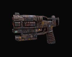 3d low poly sci fi pistol game-ready