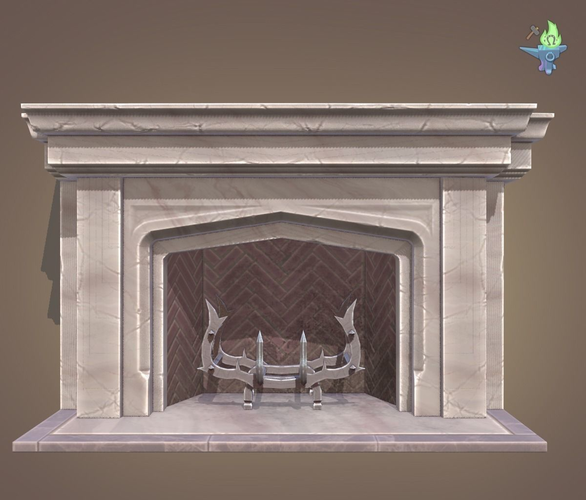 neo gothic fireplace 3d model low-poly obj 3ds fbx stl blend dae 1