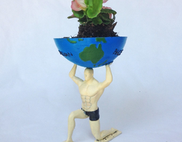 Man Holding World Pot Plant 3D printable model