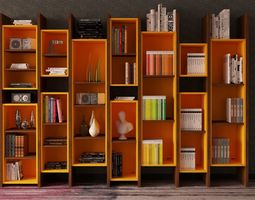 3D model bookshelf interior