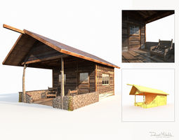 3D model Small Old Shanty Low Poly