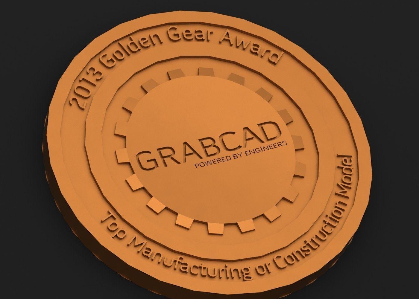 3D print model Golden Gear Challenge Coin   CGTrader