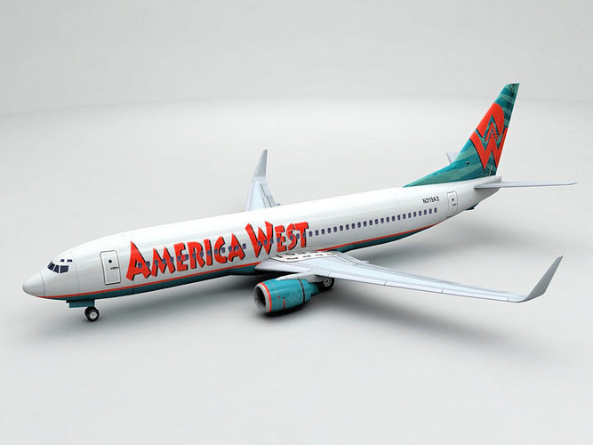 boeing 737-800 ng airliner - america west airlines 3d model low-poly max obj mtl 3ds dxf stl wrl wrz 1