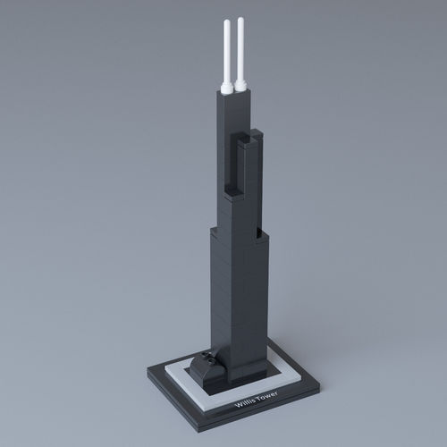 lego architecture willis tower 21000 3d model max obj mtl 1