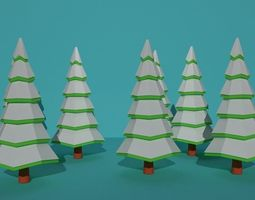 trees with snow 3D model