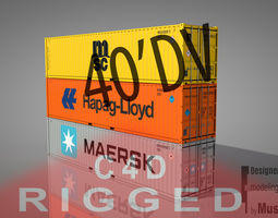 Shipping Container 40DV Rigged 3D