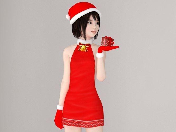 chiharu christmas pose 01 3d model max fbx 1