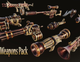 3D asset Steampunk Weapon Pack