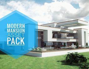 low-poly Modern Mansion Complete Modular Asset Kit