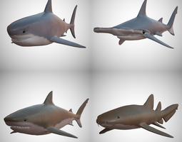 3D asset game-ready Sharks - 4 Pack