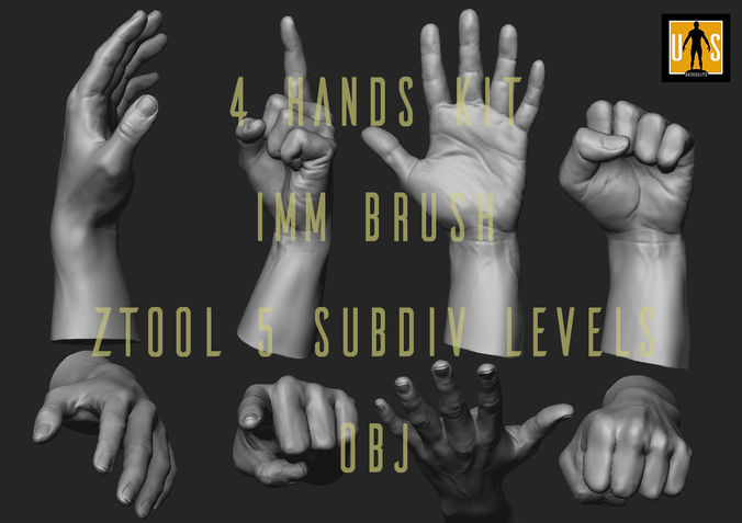 hand in 4 poses  3d model low-poly obj mtl stl ztl 1
