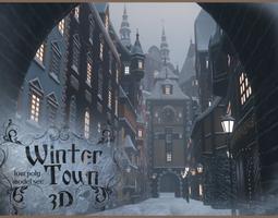 Winter Town 3D asset