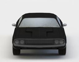 3d asset black car