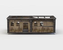 3d model low-poly building ruins