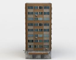 apartment building low-poly 3d asset