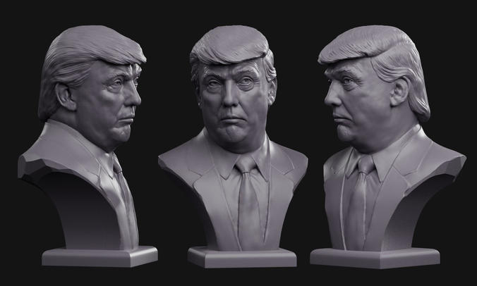 donald trump bust 3d model obj mtl fbx stl blend 1