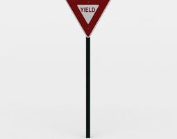 3d model yield sign VR / AR ready
