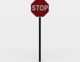 game-ready 3d asset stop sign