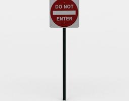 3d asset do not enter sign VR / AR ready