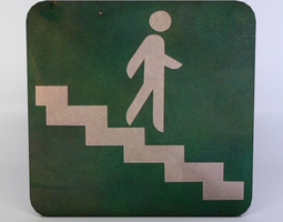 stairs sign game-ready 3d model