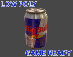 3D model realtime Low poly Drink Can - Game Ready