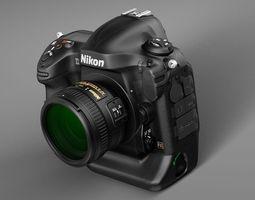 nikon d4 photo camera 3d model max obj 3ds fbx c4d lwo lw lws