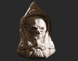 3D print model High poly sci fi skull keychain