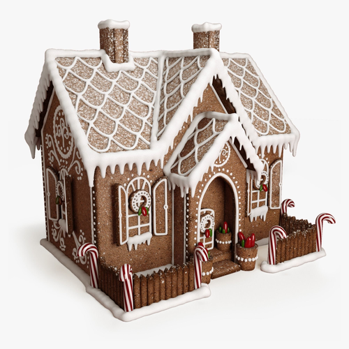 gingerbread house 3d model max obj mtl fbx mat 1