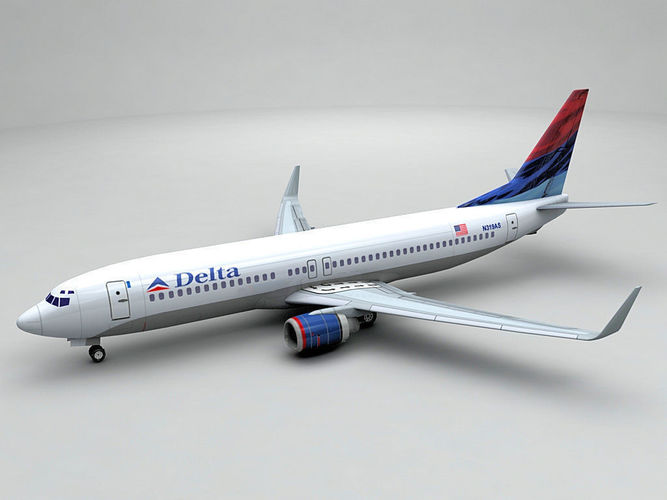 boeing 737-800 ng airliner - delta airlines  3d model low-poly max obj 3ds dxf stl wrl wrz 1
