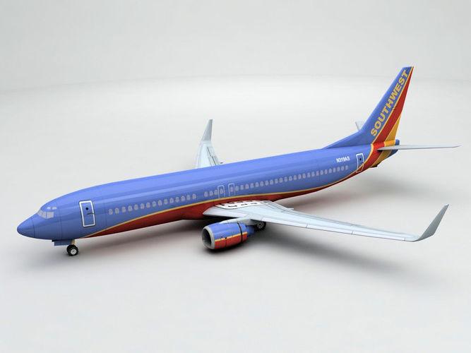 boeing 737-800 ng airliner - southwest airlines  3d model max obj 3ds dxf stl wrl wrz 1